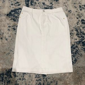 White Denim Fitted Pencil Skirt Small 4